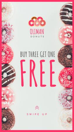 Bakery Offer Delicious Glazed Donuts Instagram Story Design Template