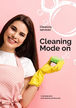 Smiling Cleaning Service worker Poster Modelo de Design