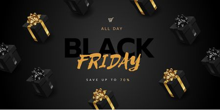 Plantilla de diseño de Black Friday sale with Gifts Twitter