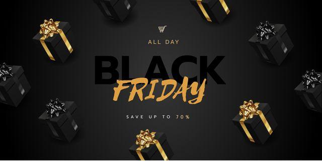 Modèle de visuel Black Friday sale with Gifts - Twitter