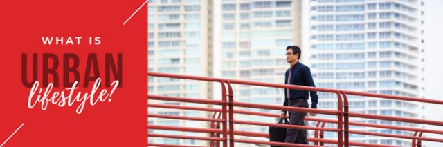 Businessman Walking in City Email header Design Template