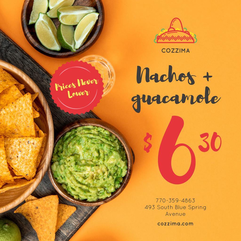 Mexican Food Offer Nachos and Guacamole — Crear un diseño