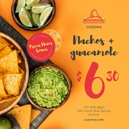 Mexican Food Offer Nachos and Guacamole Instagram Design Template