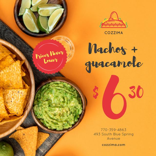 Template di design Mexican Food Offer Nachos and Guacamole Instagram