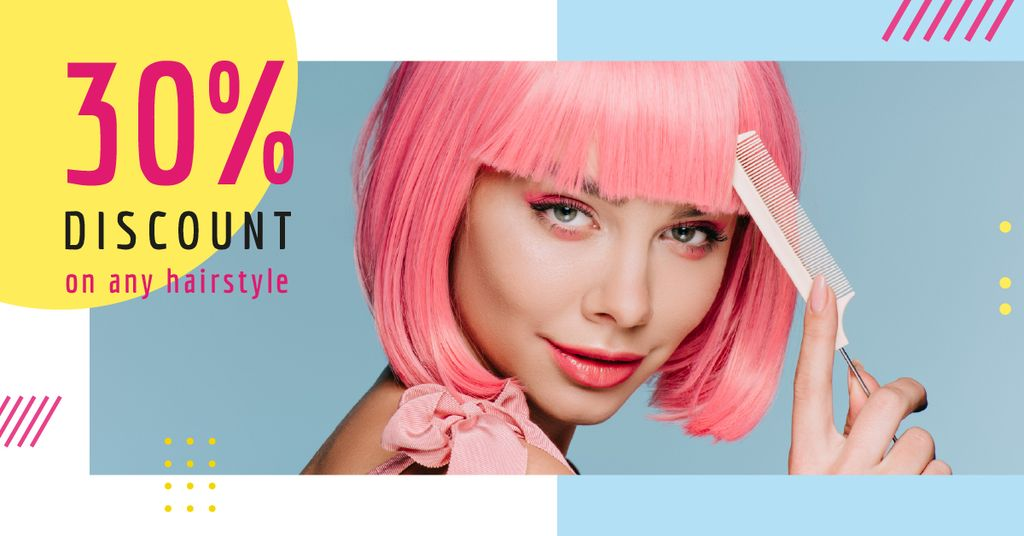 Hairstyle Discunts Ad Girl with Pink Hair Facebook AD Design Template
