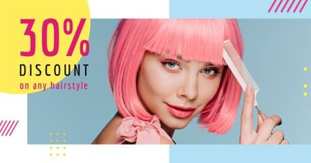 Plantilla de diseño de Hairstyle Discunts Ad Girl with Pink Hair Facebook AD