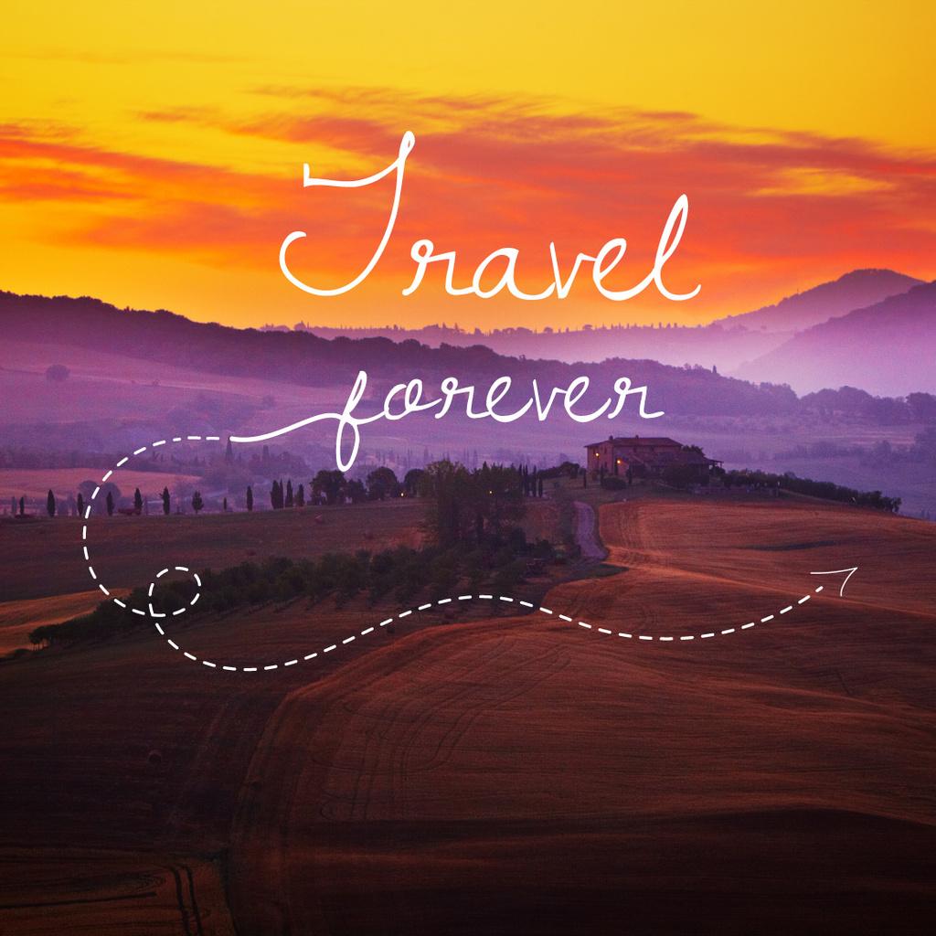 Template di design Travelling Inspiration Scenic Sunset Landscape Instagram AD