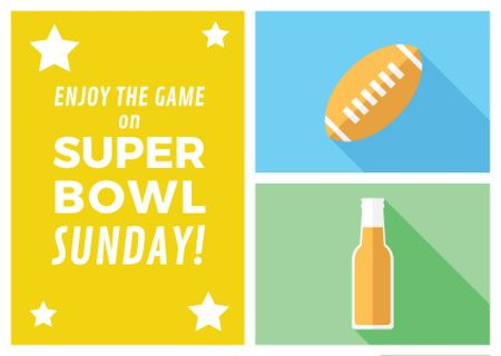 Super bowl Announcement in Yellow Postcard Tasarım Şablonu