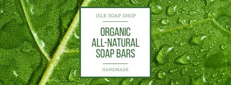 Soap Shop Ad with Drops on Leaf Facebook cover Modelo de Design