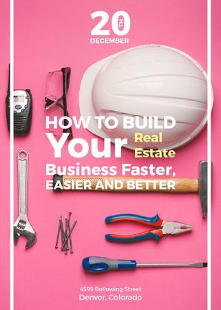 Building Business Construction Tools on Pink Flayer Modelo de Design