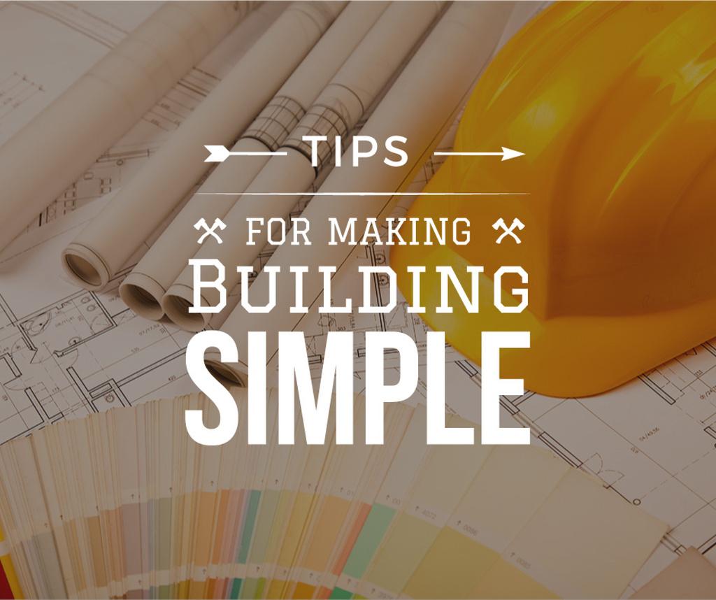 Building Tips blueprints on table Facebook Design Template