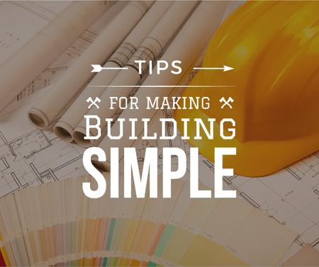 Plantilla de diseño de Building Tips blueprints on table Facebook
