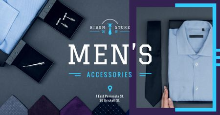 Male Fashion Store Clothes and Accessories in Blue Facebook ADデザインテンプレート