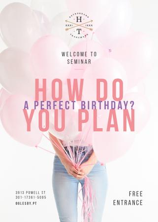 Ontwerpsjabloon van Invitation van Birthday Planning seminar with Girl holding Balloons