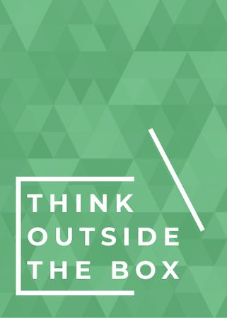 Think outside the box quote on green pattern Invitationデザインテンプレート