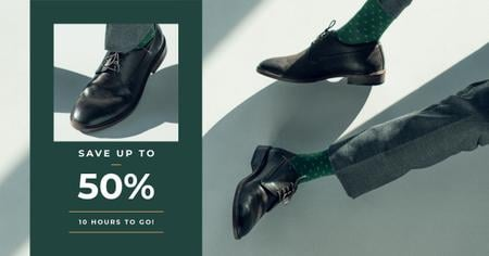 Template di design Fashion Sale man in Stylish Shoes Facebook AD