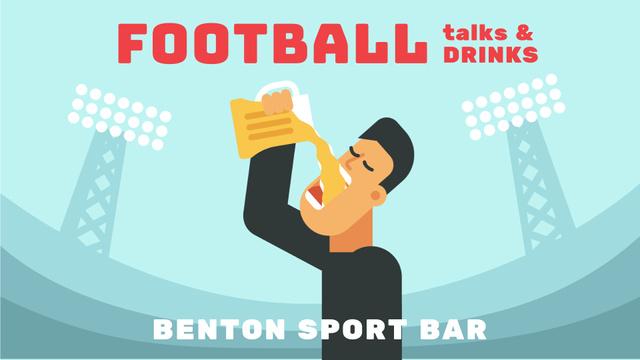 Plantilla de diseño de Sport Bar Invitation Man Drinking Beer at Stadium Full HD video
