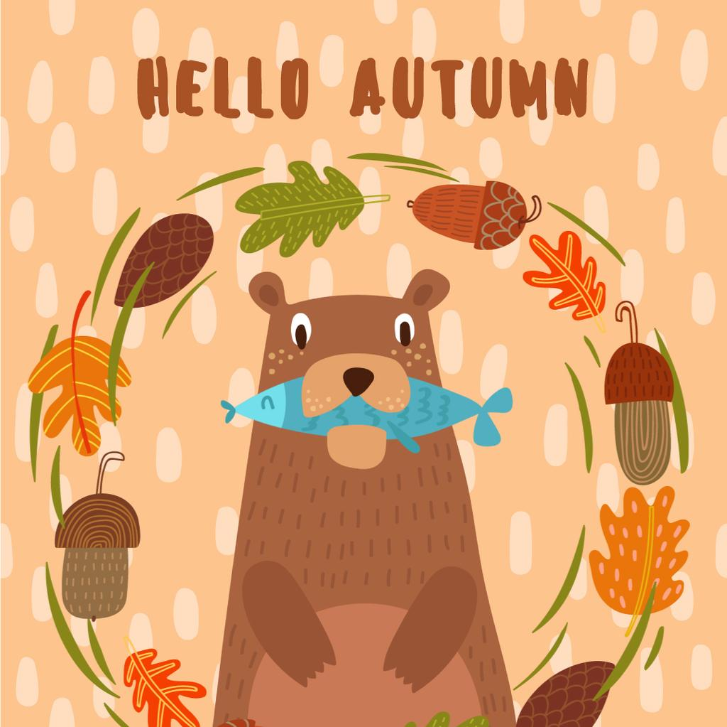 Bear with fish in autumn frame — Crear un diseño