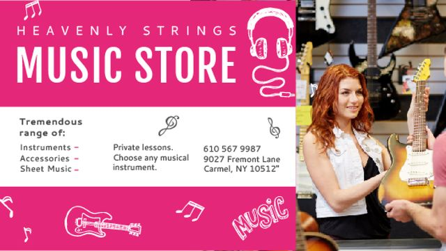 Music Store Ad Seller with Guitar Title Design Template