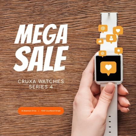 Ontwerpsjabloon van Animated Post van Smartwatches sale with Heart sticker