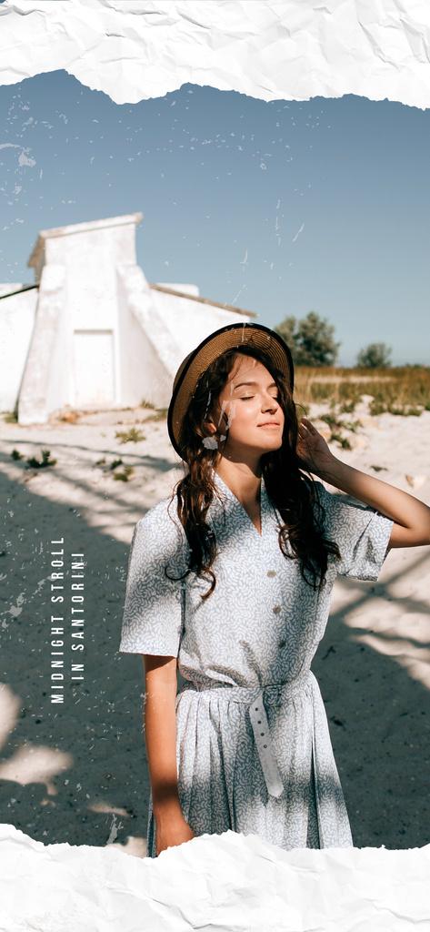 Woman on a Summer walk in Santorini — Crear un diseño