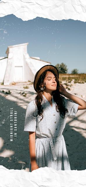 Woman on a Summer walk in Santorini Snapchat Moment Filterデザインテンプレート