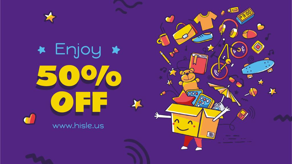 Sale Offer Goods Icons in Box on Blue — Створити дизайн