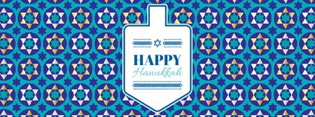 Template di design Happy Hanukkah greeting with Dreidel Facebook Video cover