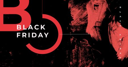 Black Friday Offer with Red paint blots Facebook AD – шаблон для дизайну