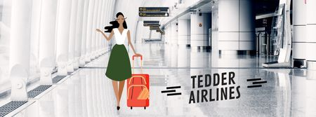 Designvorlage Girl with luggage walking in airport hall für Facebook Video cover