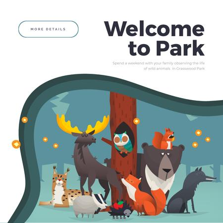 Plantilla de diseño de Invitation with Wild Animals dancing in the forest Animated Post
