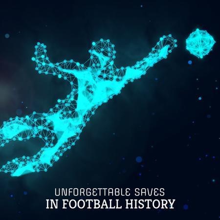 Polygonal silhouette of goalkeeper catching ball Animated Post – шаблон для дизайна