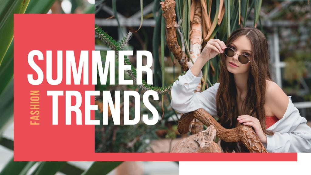 Summer Fashion Ad Woman Wearing Sunglasses | Youtube Thumbnail Template — Créer un visuel