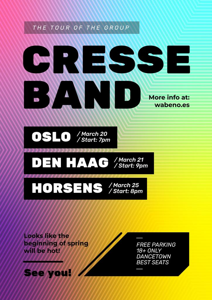 Band Tour Announcement Bright Geometric Pattern | Flyer Template — Створити дизайн