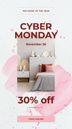 Cyber Monday Sale Cozy interior in light colors Instagram Story – шаблон для дизайна