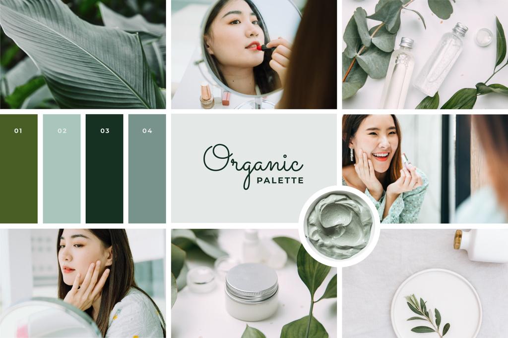 Woman applying Green cosmetics Mood Board – шаблон для дизайну