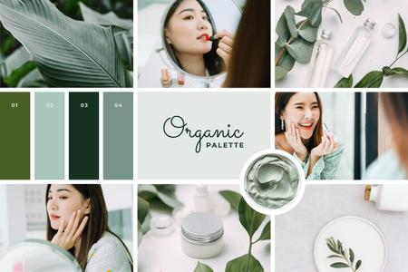 Woman applying Green cosmetics Mood Board – шаблон для дизайна