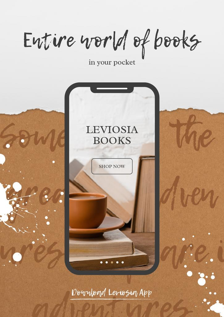 Books App with cup of Coffee and Books on screen — Crea un design