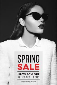 Sunglasses Ad Beautiful Girl in Black and White | Pinterest Template