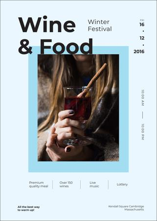 Woman holding mulled wine at Food festival Invitation Modelo de Design