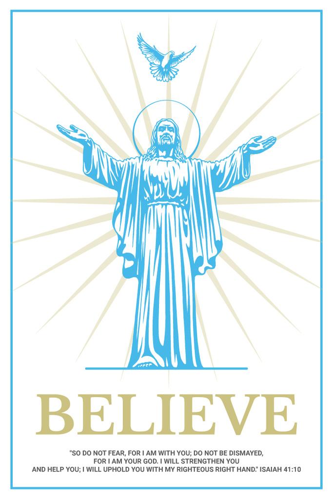 Religious Faith Christ Statue in Blue   Pinterest Template — Створити дизайн