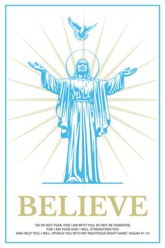 Religious Faith Christ Statue in Blue | Pinterest Template