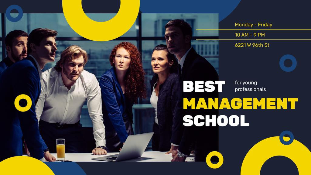 Management Courses Ad Businesspeople Working in Office | Facebook Event Cover Template — Створити дизайн