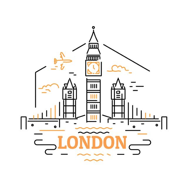 Designvorlage London famous travelling spots für Animated Post