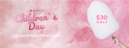 Template di design Child holding cotton candy for Children's Day Facebook Video cover