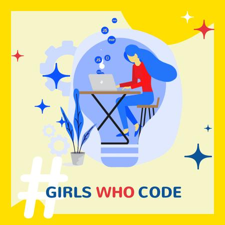 Designvorlage Equality Concept with Woman Coding on Laptop für Animated Post