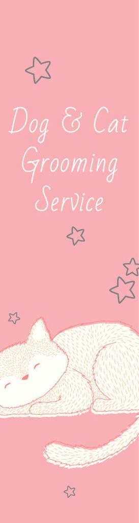 Pet Grooming Service Sleepy Cat in Pink — Modelo de projeto