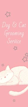 Pet Grooming Service Sleepy Cat in Pink | Wide Skyscraper Template