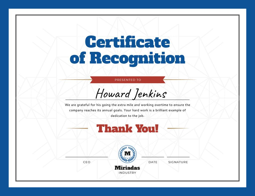 Company Employee Recognition in blue Certificateデザインテンプレート