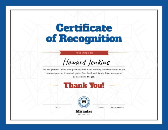 Template di design Company Employee Recognition in blue Certificate